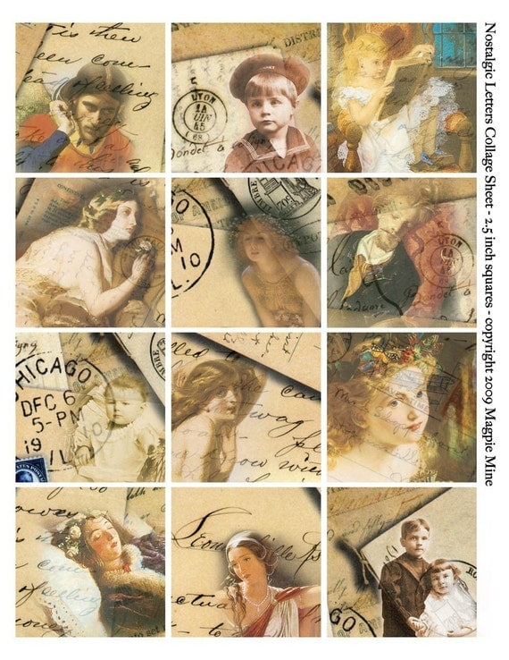 Vintage Postcards and Letters Collage Sheet - Romantic Images - Handwriting - Postmarks - 2.5 Inch Squares - Instant Download - Printable