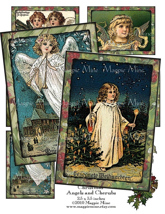 Instant Download - Christmas Angels and Cherubs Collage Sheet - Cards - Postcards - Holiday - Digital Download - Printable