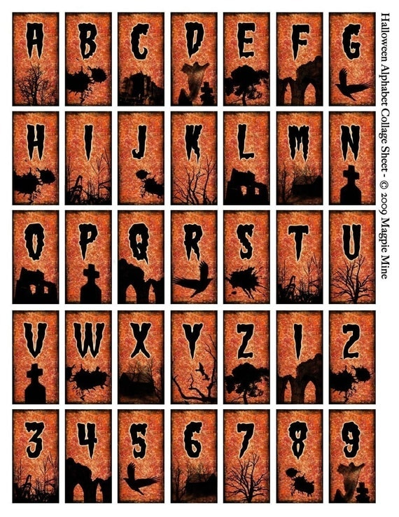 Halloween initials printable domino size alphabet letters for Spooky letter stencils