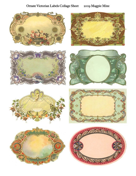 Ornate Victorian Labels Collage Sheet Instant Download