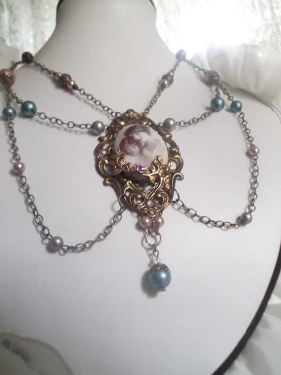 Mother and Daughter Porcelain Cameo  Victorian Statement Necklace with Brass Filigree and Roses