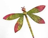 One-of-a-Kind Hand Patinated Brass Dragonfly - HUGE - Fuchsia and Lime