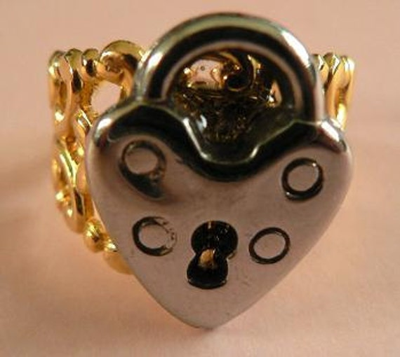 RESERVED for FirstLightGlass  HEART LOCK Adjustable Ring