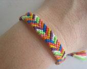 NEON RAINBOW ARROWS - Friendship Bracelet - Wish Bracelet - Chevrons - Bright - Vegan - Yoga