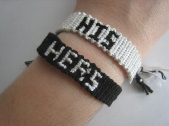 The Original HIS HERS Couples Friendship Bracelet SET, Wedding, Engagement, Original, His & Hers, Pair, Black / White