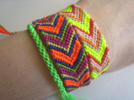 Love Shack - NEON CHEVRON Orange Navy Purple Friendship Bracelet - Wish Bracelet - Arrow - Vegan - Yoga