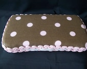 brown and pink polka dot travel wipes case