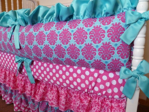 Custom Crib Bedding Set - Bright Pink and Turquoise
