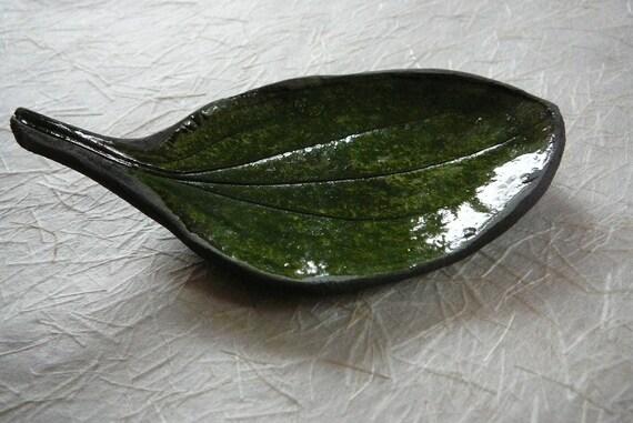 Small Green Raku Leaf Dish