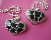 Glam animal print heart resin necklace