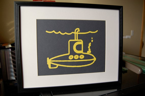 BJ Custom Order - Yellow Submarine Wall & Frame Art - Gray Background Picture 8 x 10 UNFRAMED