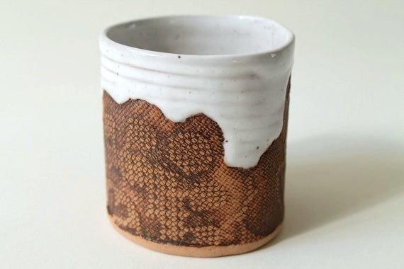 Handmade White Floral Lace Tumbler in Speckled Stoneware