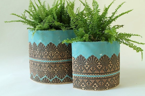 Handmade Moroccan Lace Planter or Utensil Holder in Turquoise, Size Medium