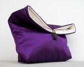 Foldover Clutch in Purple Satin