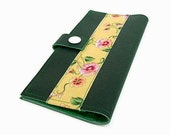 Women's Clutch Wallet, Fashion Accessory, Bifold Wallet, under 25, Green Wallet, Yellow Floral Ribbon on Green