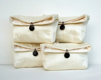 Wedding Bag, Bridesmaid Clutch Set, Silk Purse, Personalized Bridesmaids Gift, Free Initials