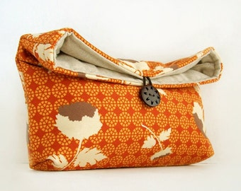 Makeup Bag, Orange Floral Clutch Purse, Orange Clutch, Great for Travel, Bridesmaid Gift, Gift Under 25