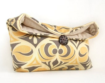 Yellow Clutch Purse, Gray Clutch, Cream Yellow and Gray, Yellow Bridesmaid Gift, Bridesmaid Clutch, Cosmetic Makeup Bag, Cream Clutch