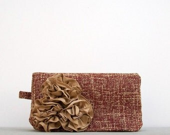 Handmade Clutch, Red Clutch, Nougat Brown Silk Rosettes, Gift for Mom, Bridesmaid Gift, Wedding Accessory