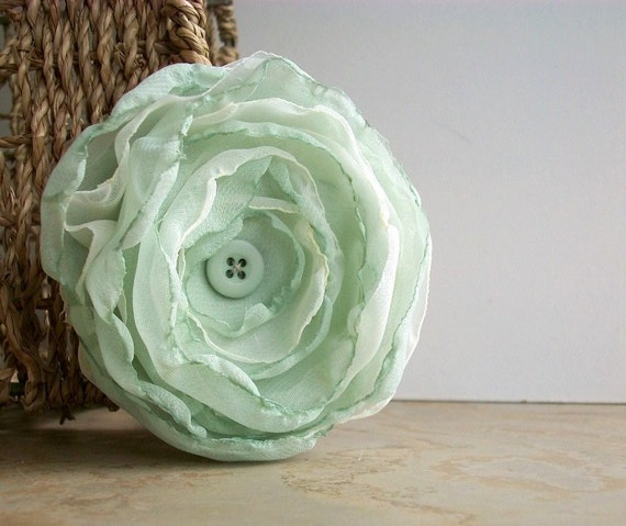 Mint and Ivory Flower Clip
