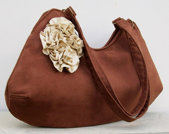 Ivory Rosettes on Brown Faux Suede Bag