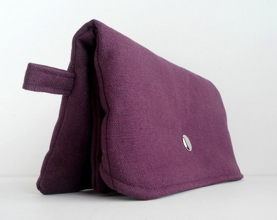 Phlox Purple Clutch Purse / Cotton Foldover Clutch/Wallet with Attached Zippered Pouch - Clearance