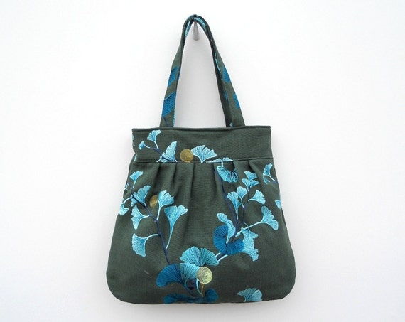 Blue Ginkgo Leaves on Green Canvas Pleated Bag