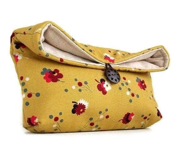 Bridesmaid Gift, Makeup Bag, Red Flowers on Mustard Yellow Clutch Purse, Great for Travel, Gift Under 25, Gift for Mom