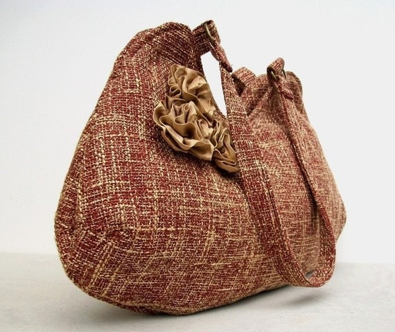 Red Bag, Purse - Rosettes on Red and Butterscotch Shoulder Bag, Fall Fashion, Tweed Look