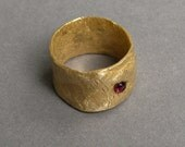 Hammered Bronze Ruby Ring