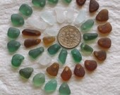 39 Natural Sea Glass Small and Extra small Beads Top Drilled 1.5mm holes Supplies (1208)