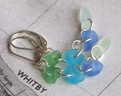 Natural Sea Glass Sterling Silver Lever Back Earrings Rare Aqua and Blue (430)