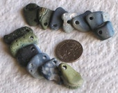 13 Natural Slag Sea Glass Pendants Charms Top Drilled 2mm holes Supplies (1394)