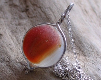 Natural Sea Glass Red Marble Pendant Necklace (290)