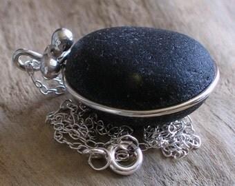Natural Sea Glass Silver Pendant Necklace Rare Black  (295)