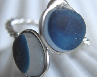 Natural Sea Glass Sterling Silver Ring Multicolor Blue US 12  1/4 (316)