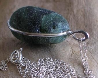 Natural Sea Glass Sterling Pendant Necklace Rare Green Multicolor  (307)