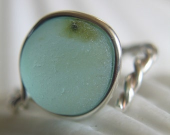 Natural Sea Glass Sterling Silver Ring Seafoam Glow US 6 (321)