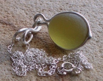 Natural Sea Glass Sterling Silver Pendant Necklace Golden Rod (409)