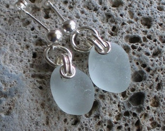 Natural Sea Glass Sterling Silver Studs Post Earrings Soft Seafoam (464)