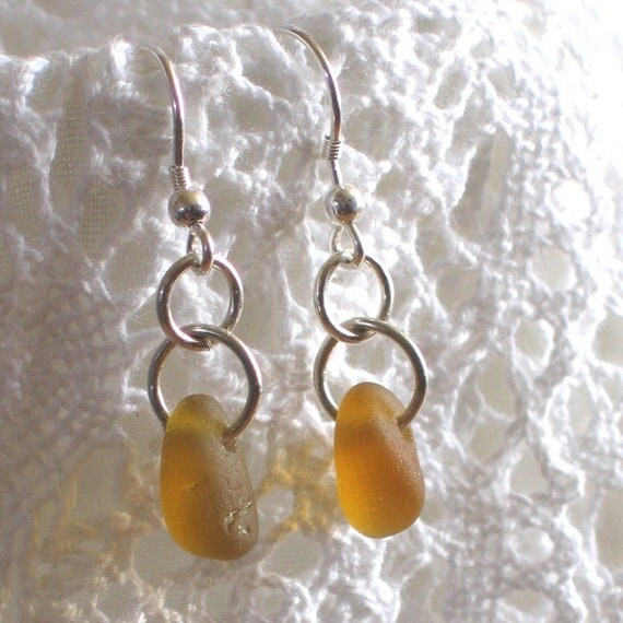 Natural Sea Glass Sterling Silver Drop Earrings Golden Amber (137)