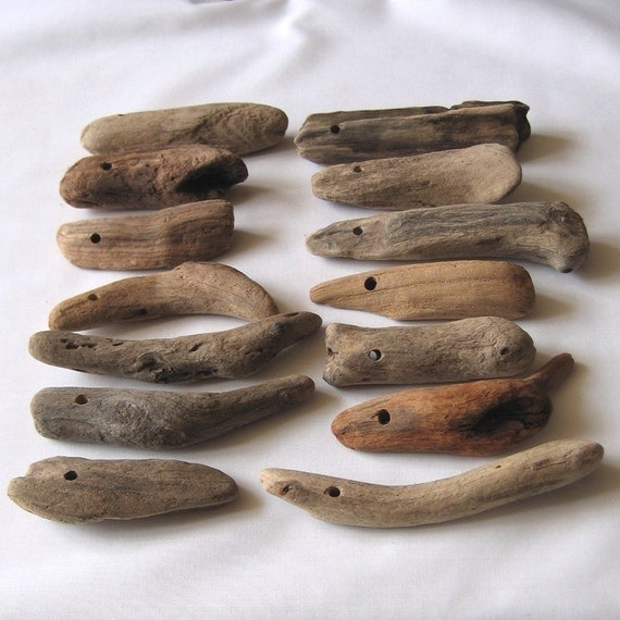 14 Natural Driftwood Giant Beads Top Drilled 4mm holes Supplies (1072)