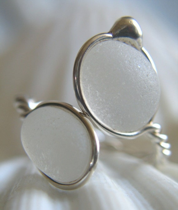 Natural Sea Glass Sterling Silver Ring Soft White  US 10 1/2 (320)