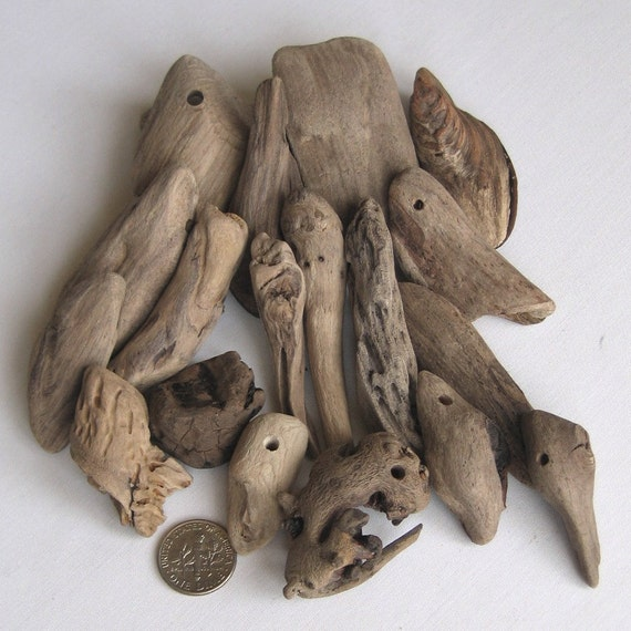 19 Natural Driftwood Beads Focals Side and Top Drilled 2 and 5mm holes Supplies (1314)