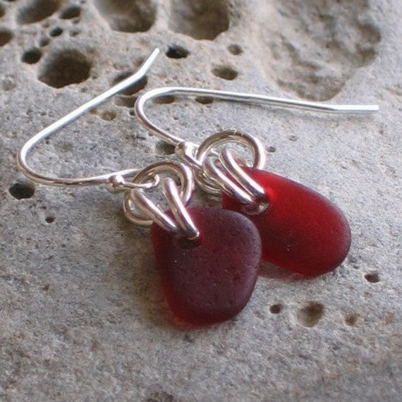 Natural Sea Glass Sterling Silver Earrings Rare Puerto Rico Reds (413)