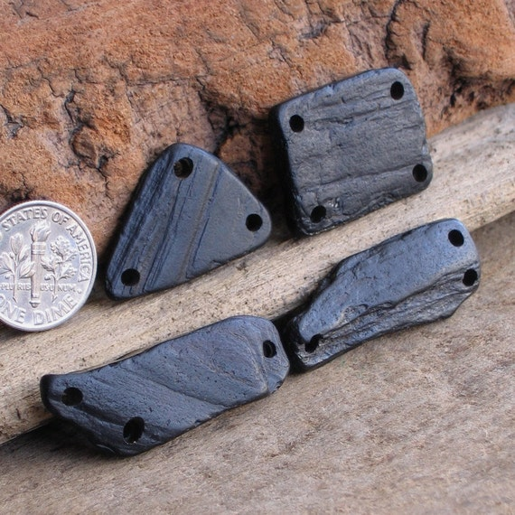 4 Natural Sea Washed Whitby Jet Connectors Focals Drilled 2mm holes Supplies (1382)