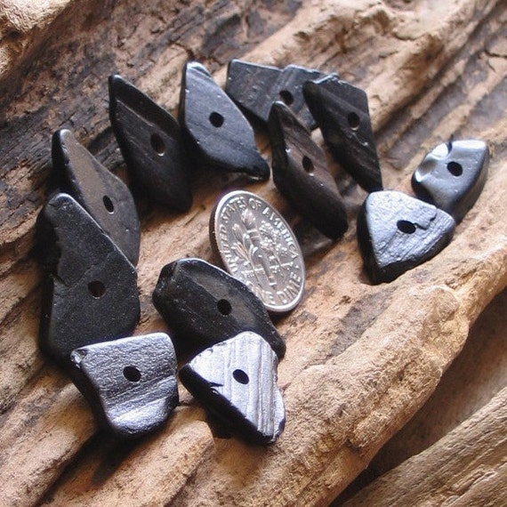 12 Natural Sea Washed Whitby Jet Beads Toggles Centre Drilled 2mm holes Supplies (1404)
