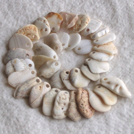 35 Natural Sea Shell Fragments Charms Top Drilled 2mm holes Supplies (1405)