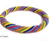 Multi-Colored Spiral Bangle Bracelet