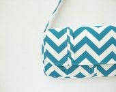 Savannah Blue Chevron Handbag Purse in Zig Zag Blue Moon and White with Pleating Embellishments  - Ready to Ship
